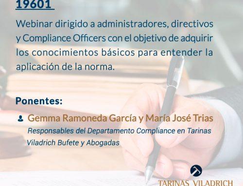 Webinar: Elementos esenciales de la UNE 19601de Sistemas de Gestión de Compliance Penal